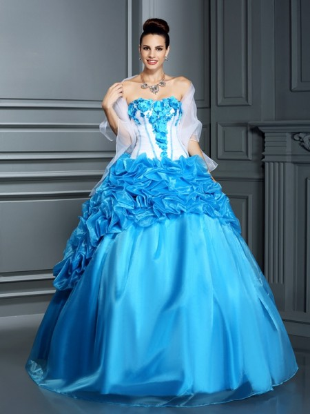 Robe de bal Col en coeur Volants Sans Manches Longue Satiné Robes De Quinceanera