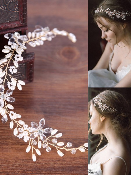 Simple Pearls Casque Mariage