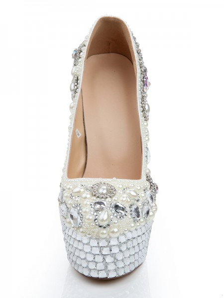 Patent Leather Glass Drill Perles Talons hauts Avec Diamond Chain