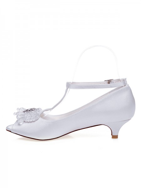 The Most Stylish Femmes Satiné Peep Toe Cone Heel Chaussures de mariage