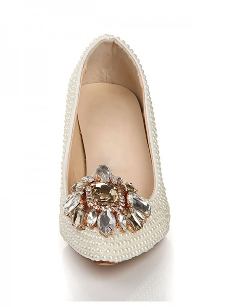 Patent Leather Perles Faux diamants Buckle Pointed Toe Talons hauts