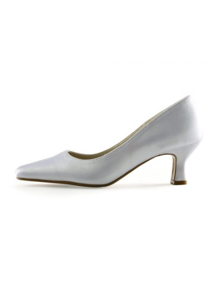 Femmes Satiné Upper Chunky Heel Pointed Toe Blanc Chaussures de mariage